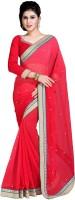 Jiya Self Design, Embroidered, Embellished Fashion Chiffon Saree(Red)