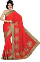 Ishin Solid Fashion Georgette Saree(Red)