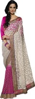 Khushali Self Design, Embellished, Embroidered Fashion Net Saree(White, Pink)
