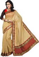 Saree Swarg Solid Bollywood Silk, Jacquard Saree(Beige)
