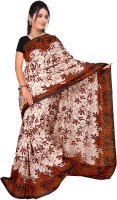 Jiya Self Design, Printed Daily Wear Cotton Blend Saree(Multicolor, Brown, Black, Beige)