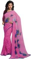 Stylish Girls Printed Fashion Pure Chiffon Saree(Pink)