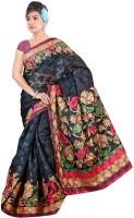 Khoobee Printed Bhagalpuri Cotton Blend Saree(Black, Beige)