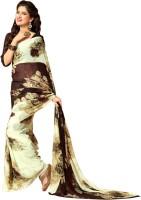Khoobee Printed Fashion Poly Georgette Saree(Multicolor, Brown)