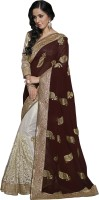 Khushali Self Design, Embellished, Embroidered Fashion Net Saree(Brown, White)