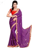 Nairiti Fashions Solid Bollywood Satin, Chiffon Saree(Purple)