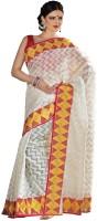 Meghdoot Geometric Print Fashion Cotton Blend Saree(Multicolor)
