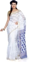 B3Fashion Woven Tant Handloom Silk Cotton Blend Saree(White, Blue)