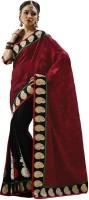 Bahubali Sarees Self Design Fashion Crepe Saree(Maroon, Black)