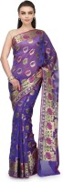 Bunkar Self Design Banarasi Cotton Saree(Purple, Multicolor)