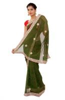 Shri Narayan Fashions Self Design Bandhej Pure Georgette Saree(Green)