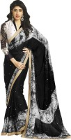 Admyrin Self Design Fashion Satin Saree(Black, White)