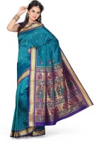 Ishin Printed Paithani Art Silk Saree(Blue)