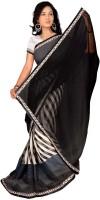 Jiya Self Design, Printed Daily Wear Poly Georgette Saree(White, Black)