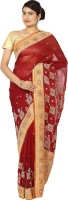 Zain Textiles Woven Banarasi Handloom Pure Chiffon Saree(Maroon, Orange)