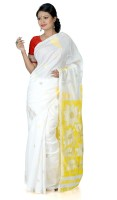B3Fashion Woven Kosa Handloom Silk Saree(White, Yellow)