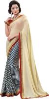 Khoobee Self Design Fashion Chiffon Saree(Beige)