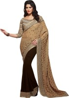 Khushali Self Design, Embellished, Embroidered Fashion Georgette, Jacquard Saree(Brown, Beige)