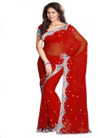 Sourbh Sarees Self Design, Solid, Printed Fashion Georgette Saree(Red)