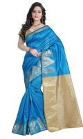 Vastrakala Printed Banarasi Cotton, Silk Saree(Blue)