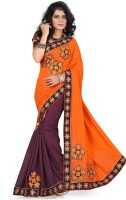 Indianbeauty Self Design Bollywood Linen, Cotton Saree(Orange, Brown)