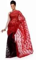 Purabi Woven Jamdani Handloom Silk Saree(Red)