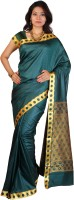 Kanheyas Self Design, Embellished Fashion Handloom Poly Silk Saree(Dark Green)