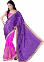 Khoobee Self Design, Embroidered, Embellished Fashion Cotton Blend, Poly Georgette Saree(Purple, Pink)
