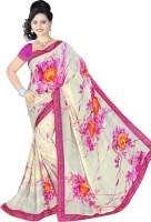 Khoobee Printed Fashion Poly Georgette Saree(White, Pink)