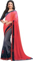 Indianbeauty Solid Bollywood Pure Chiffon Saree(Red, Grey)