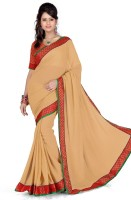 Cenizas Solid Fashion Georgette Saree(Beige)