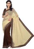 Saree Swarg Solid Bollywood Chiffon, Brasso Saree(Brown, Beige)