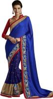 Ewows Solid Fashion Jacquard Saree(Dark Blue)