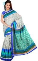 Jiya Self Design Bhagalpuri Art Silk Saree(Green, Grey)