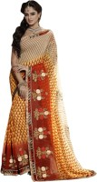 Khoobee Self Design, Embroidered, Embellished Fashion Poly Georgette Saree(Red, Beige, Yellow)