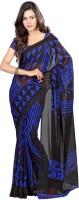 Khoobee Printed Fashion Poly Georgette Saree(Blue)