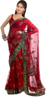 Aksh Fashion Self Design Daily Wear Net Saree(Red)