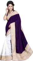 Ansu Fashion Floral Print Fashion Brasso Saree(Purple)