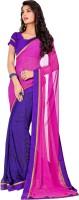 Saara Printed Fashion Georgette Saree(Purple, Pink)