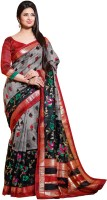 Bhavi Printed Fashion Art Silk Saree(Grey, Black)