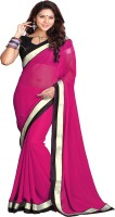 Sourbh Sarees Self Design, Solid Fashion Georgette Saree(Purple)
