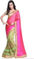 JTInternational Self Design Bollywood Jacquard Saree(Pink, Mustard)