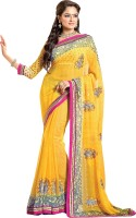 Khoobee Self Design, Embroidered, Embellished Fashion Poly Georgette Saree(Yellow)