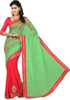 Saree Swarg Solid Bollywood Chiffon, Brasso Saree(Orange, Green)