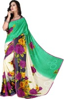 Khoobee Floral Print Fashion Poly Georgette Saree(Multicolor, Light Green)