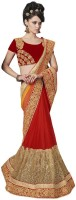 Desi Butik Embellished Fashion Chiffon, Net Saree(Yellow, Red)