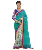 Patiala House Printed, Embroidered Fashion Georgette Saree(Blue, White)