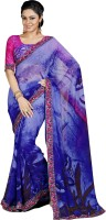 Khoobee Printed Fashion Poly Georgette Saree(Multicolor, Dark Blue)