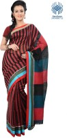 Tantuja Striped Tangail Handloom Cotton Saree(Red, Black)