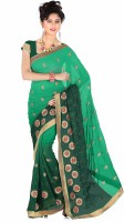 Khoobee Embroidered Fashion Poly Georgette Saree(Green)